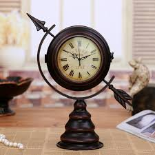 antique metal globe sphere mute double face desk clock decorative vintage iron art craft ornament accessories embellishment in desk table clocks from home