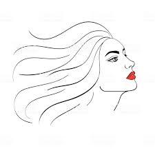 Simple Handdrawn Portrait Of Beautiful Woman Stock Illustration