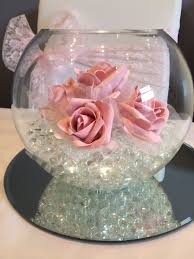 Fish Bowl Decorations For Weddings fish bowl wedding centrepiece with pink roses Hire in South Wales 2