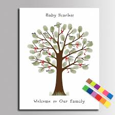 Baby Shower Fingerprint Guest Book  Elephant Giraffe Baby Shower Fingerprint Baby Shower Tree