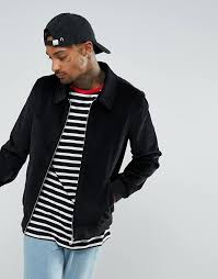 asos cord harrington jacket in black a1y8 for men