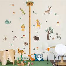 Us 2 75 20 Off Cartoon Jungle Wild Zoo Animals Growth Chart Wall Stickers For Kids Rooms Monkey Safari Lion Height Measure Wall Decal Mural Art In