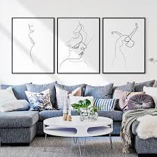 USD 4040] Your Contour Line Character Decoration Painting Nordic Impressive Wall Painting Designs For Bedroom Minimalist