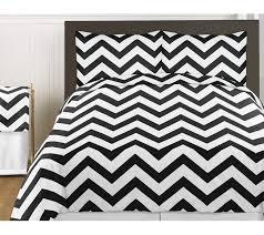 sweet jojo designs black and white chevron collection 3pc full queen bedding set multi