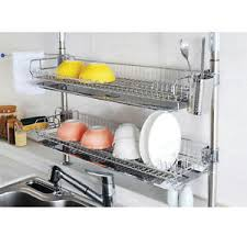 Image is loading Stainless-Fixing-Double-Shelf-Dish-Drying-Rack-Drainer-