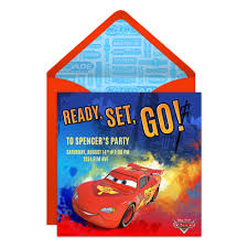 cars disney family ready set go cars online invitation