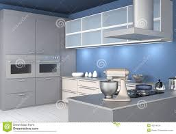 Modern Kitchen Wallpaper Modern Kitchen Interior With Light Blue Wallpaper Stock Photo