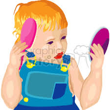 child looking in mirror clipart. little boy looking in the mirror and brushing his hair child clipart
