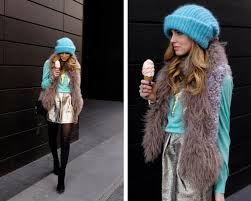 Image result for turquoise outfit with fur coat