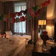 room with birthday decorations