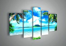 ocean themed wall art beach canvas wall art 5 panel wall art seascape blue ocean picture ocean themed wall art