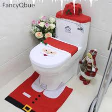 Three Style Santa Claus Toilet Seat Cover and Rug Bathroom Set ...