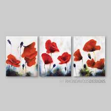 red poppy wall art red poppy painting reprint home decor