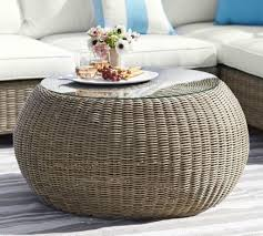 torrey all weather wicker round coffee table natural pottery barn round wicker coffee table