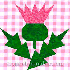 Paper Piecing Flower Thistle Flower Quilt Block Pattern Paper From Piecebynumberquilt