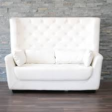 White Leather High Back Tufted Love Seat High Back Loveseat A87
