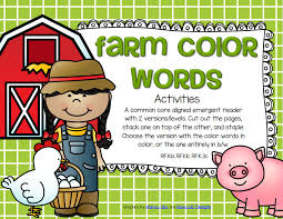 farm color words emergent reader in both color and b w 25 pgs members