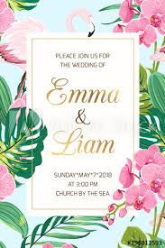 Wedding Marriage Event Invitation Card Template. Tropical Jungle ...