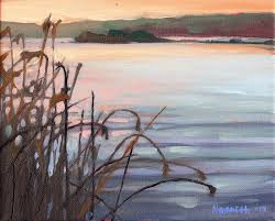 original oil painting morning at lake mineral wells starving artist spring cleaning clearance continues