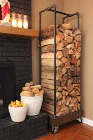 DIY Rolling Firewood Holder Made From Plumbing Pipes. If we ever convert  fireplace to wood burning stove