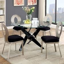 cm3169t 3727sc 5 pc aero collection propeller style design metal and round glass dining table with black