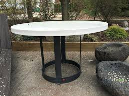 custom round dining table awesome round concrete and metal dining table gardens image for custom trends