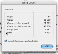 page essay word count