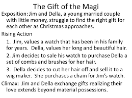 short story narratives elements of plot the gift of the magi the gift of the magi exposition jim and della a young married couple