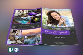 Remember Purple Funeral Program Word Publisher Template On Behance