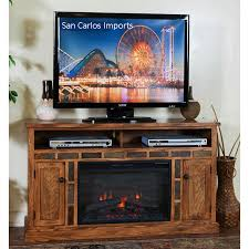 arizona rustic oak 54 tv stand with fireplace