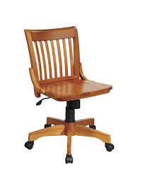com osp designs deluxe armless wood bankers desk chair with wood seat