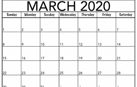 Month Of March Calendar 2020 Monthly March 2020 Calendar Blank Printable Template