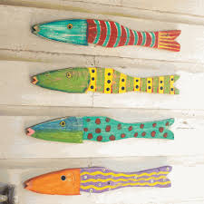 innovational ideas wooden fish wall art decoration recycled wood set of 4 hand carved large painted