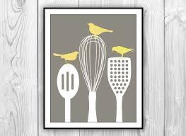 kitchen utensils art. Birds On Kitchen Utensils Art Print - Modern Decor CHARCOAL Brown White \u0026 Yellow