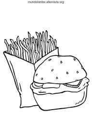 Hamburger E Patatine Fritte Da Colorare Mondo Bimbo