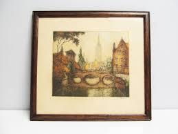 antique wood picture frames. Antique Etching Vintage Painting Colored City Brugges Bridge Beguignage Wood Frame Belgium Flemish Picture Frames