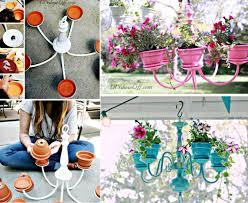 diy chandelier clay pot flower planter tutorial from diyshowoff