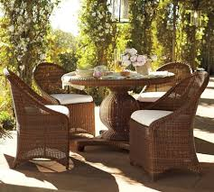 palmetto all weather wicker round pedestal dining table set honey traditional outdoor