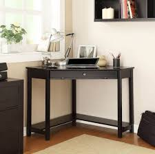 Furniture: Perfect Small Black Corner Desk For Small Space Featuring Desk  Lamp And Wall Mount