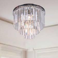 justina 5 light crystal glass prism 3 tier flush mount chrome for 3 tier crystal chandelier