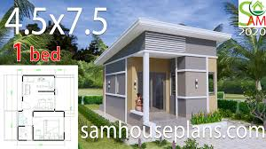 Flat Roof Shed Design Pictures Small House Plans 4 5x7 5 With One Bedroom Shed Roof Sam House Plans