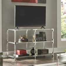 Cyrus Clear Chrome Corner Mirrored Shelf Sofa Table TV Stand by iNSPIRE Q  Bold - Free Shipping Today - Overstock.com - 21781607