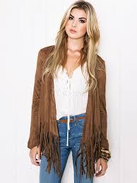 brown suede fringe jacket women long sleeve short leather jacket uk