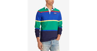 lyst polo ralph lauren big tall cotton striped rugby classic fit shirt in green for men
