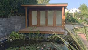 15 x 12 4550mm x 3640mm qc6 garden studio with side flyover roof and decking big garden office ian
