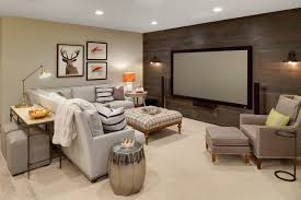 T Basement  Large Rustic Underground Carpeted Basement Idea In Minneapolis  With Beige Walls