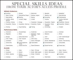 Skills In Resumes Acting Resume Special Skills Examples Actor Resume Special