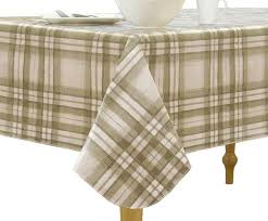 elrene home fashions vinyl tablecloth with polyester flannel backing country plaid easy care spillproof 70 round taupe
