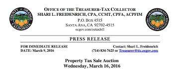 Oc Property Tax Sale Auction Scheduled For Wednesday March