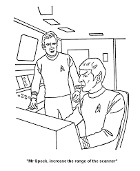 Star Trek Coloring Pages Captain Kirk And Mr Spock On The Bridge